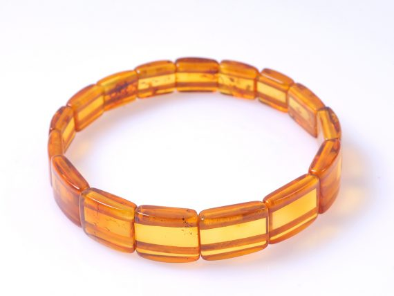 дамска кехлибарена гривна плочици цвят мед