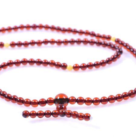Будистка броеница кехлибар цвят коняк